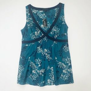 NWT Studio Blue Floral Sheer Tank Blouse Small